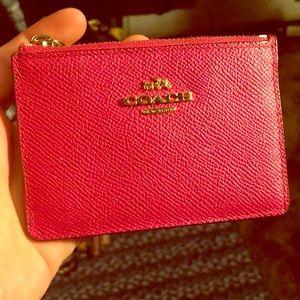 Coach pink zipper card holder / mini wallet